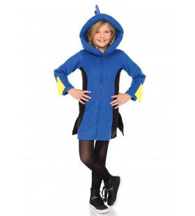Tropische Blauwe Geelstaart Vis Meisje Kostuum