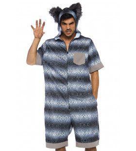Grote Slaperige Wolf Pyjama Man Kostuum