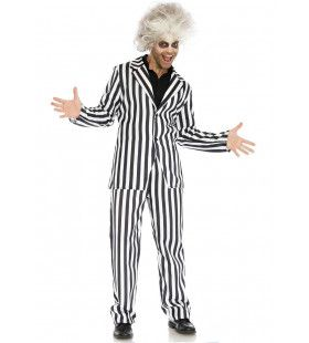 Beetlejuice Boss Zwart Wit Gestreept Man Kostuum