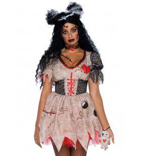 Iets Te Vaak Geprikte Voodoo Pop Vrouw Kostuum