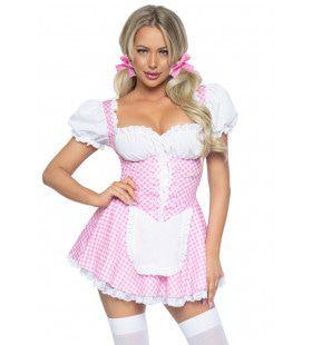 Roze Schattige Oktoberfest Dirndle Vrouw Kostuum