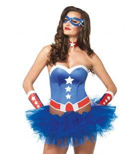 4delige Amerikaanse Superheldin Set Blauw Vrouw Kostuum