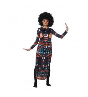 Traditioneel Afrikaanse Symbolen Vrouw Kostuum