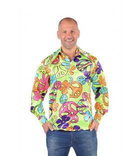 Satijnen Peace Teken Hippie Hemd Man