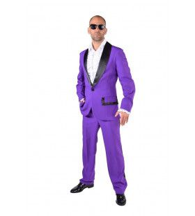 Paarse Smoking Theatershow Man Kostuum