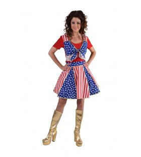 Star Spangled Cheerleader USA Vrouw Kostuum