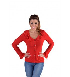 Jersey Blouse Brede Kraag Rood Vrouw