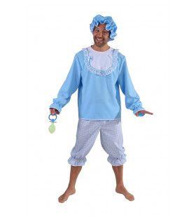 Blauwe Ik Word Nooit Volwassen Baby Man Kostuum