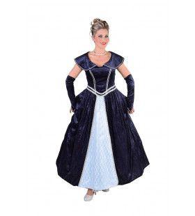 Luxe Hofdame Versailles Marine Blauw Vrouw Kostuum