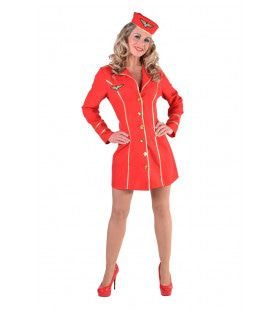 Rood Burger Luchtvaart Stewardess Vrouw Kostuum