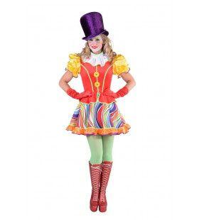 Grappige Circus Clown Regenboog Vrouw Kostuum