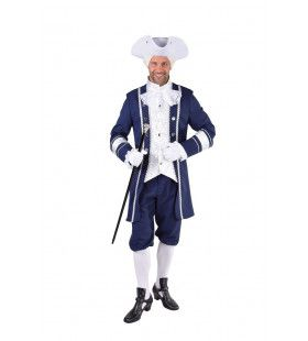 Glimmende Mouwen Markies Blauw Man Kostuum