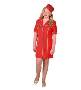 Goede Service Stewardess Lijnvliegtuig Meisje Kostuum