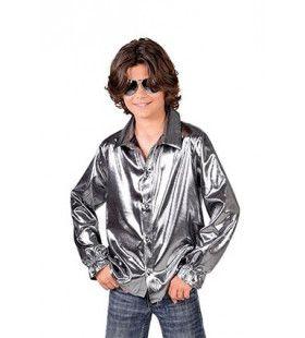 Zilveren Glitter Folie Blouse Jongen