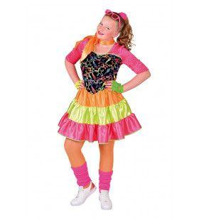 Disco Girl Felle Fluor Kleuren Meisje Kostuum