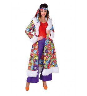 Hippie Mantel Lang Smileys Vrouw