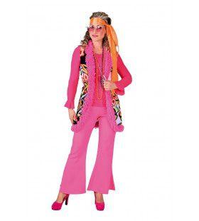 Hippie Vest Lang Flamingo Bont Vrouw