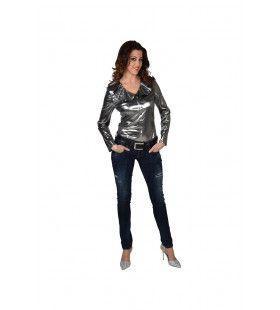 Zilveren Glitter Folie Blouse Vrouw