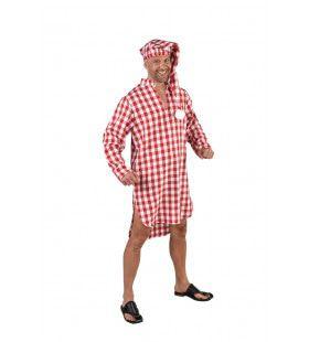 Vader Jakob Nachthemd Met Slaapmuts Rood Wit Geblokt Man Kostuum