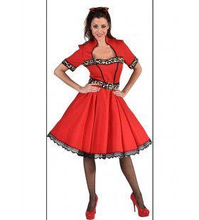 Pittig Rood Jaren 50 Met Luipaard Print Vrouw Kostuum