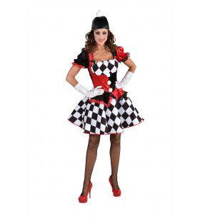 Potsenmaker Harlekijn Zwart Witte Ruitjes Vrouw Kostuum