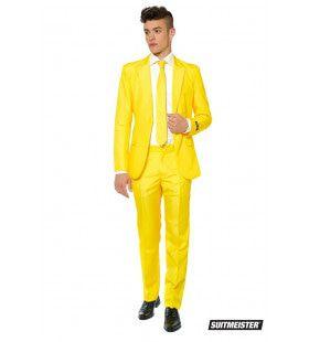 Helemaal Geel Solid Yellow Man Kostuum