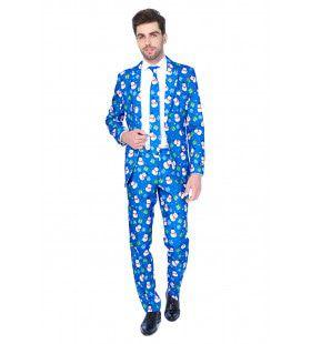Winter Christmas Blue Snowman Opposuit Kostuum