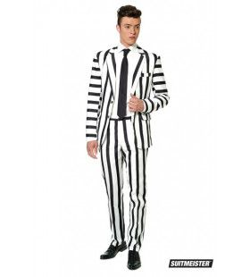 Popart Striped Black White Suitmeister Man Kostuum
