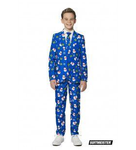 Blauw Van De Kou Sneeuwpop En Sneeuwvlokken Kerst Jongen Kostuum