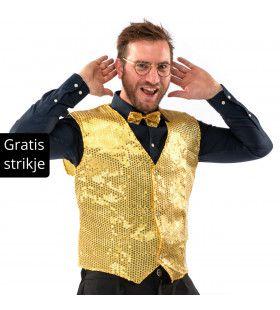 Showman Cocktail Gala Glitter Vest Met Dasje Goud