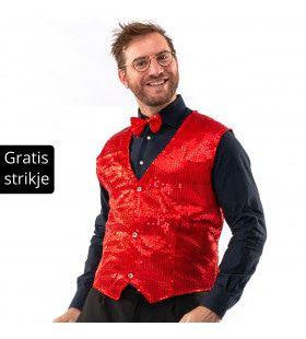 Showman Cocktail Gala Glitter Vest Met Dasje Rood