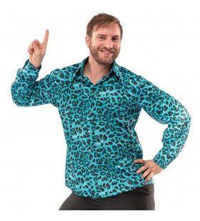 Blauw Luipaard Shirt Foute Aso Pooier Man