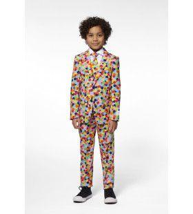Vrolijk Gekleurd Confetti Kanon Jongen Kostuum