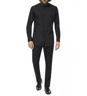 Zwart Strak In Het Pak Overhemd Man