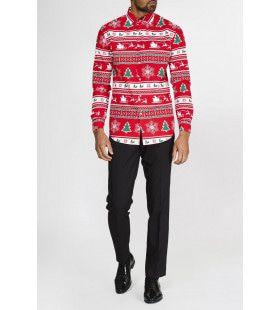 Rood Winter Wonderland Kerst Overhemd Met Lange Mouwen Man