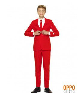 Intense Red Devil Opposuit Teen Jongen Kostuum