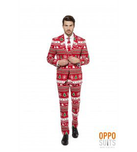 Lekker Foute Rood Winter Wonderland Kerst Opposuit Man Kostuum