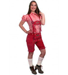 Echt Lederen Roze Lederhose Kort Vrouw