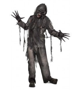 Afgefakkelde Zombie Broek, T-Shirt, Handschoenen, Masker Man Kostuum
