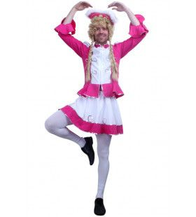 Travestiet Dansmarieke Majorette Kostuum Roze Man