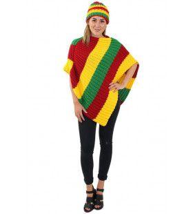 Gebreide Poncho Jamaica Limburg Rood Geel Groen