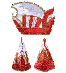 Prinsenmuts Rood Wit Met Goud Draad Maat 63
