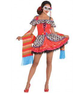 Bezaaid Met Schedels Dia De Los Muertos Vrouw Kostuum