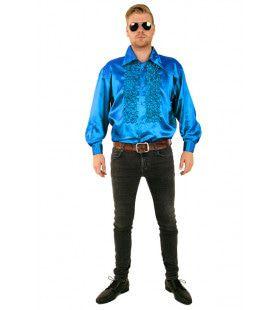 Ruchesblouse Baas Van De Dansvloer Felblauw Man