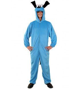 Ongezond Blauwe Hond Pluche Man Kostuum