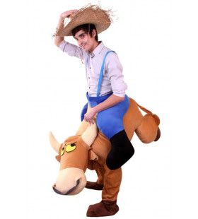 Rodeo Op Een Bokkende Stier Kostuum