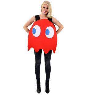 Rood Pacman Computerspel Spook Kostuum