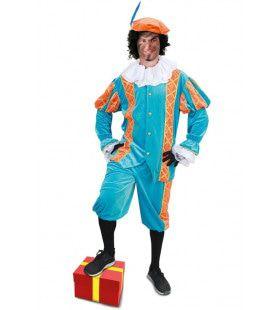 Assistent Van Sinterklaas Piet Turqouise Oranje Kostuum
