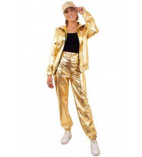 Gouden Metallic Trainingspak Proud To Be Goud Dames Vrouw Kostuum