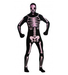 Second Skin Grijnzend Botten Skelet Morphsuit Man Kostuum